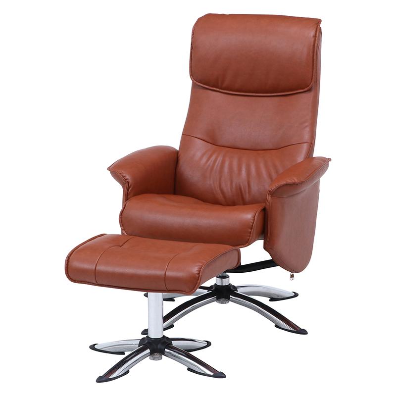 送料無料 パーソナルチェアー パーソナルチェア オットマン リクライニング パーソナル チェアー 脚置き イス チェア 椅子 一人掛け リラックスチェア レザー シンプル モダン おしゃれ キャメル