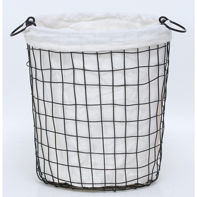 送料無料 4個セット ワイヤーバスケットラウンドM ランドリーバスケット 大容量 洗面所 脱衣かご 北欧 洗濯かご ランドリーボックス おもちゃ箱 小物入れ 収納ボックス スリム シンプル 西海岸 男前インテリア おしゃれ ブラック