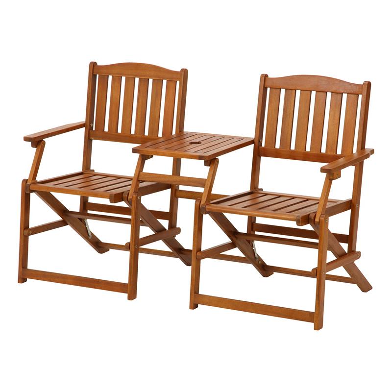 送料無料 ガーデンチェアー 折りたたみ 折り畳み フォールディング ラブベンチ 木製 2人用 二人掛け いす イス チェア 背もたれ付き テーブル付き ベンチチェアー 高級感 おしゃれ デザイン
