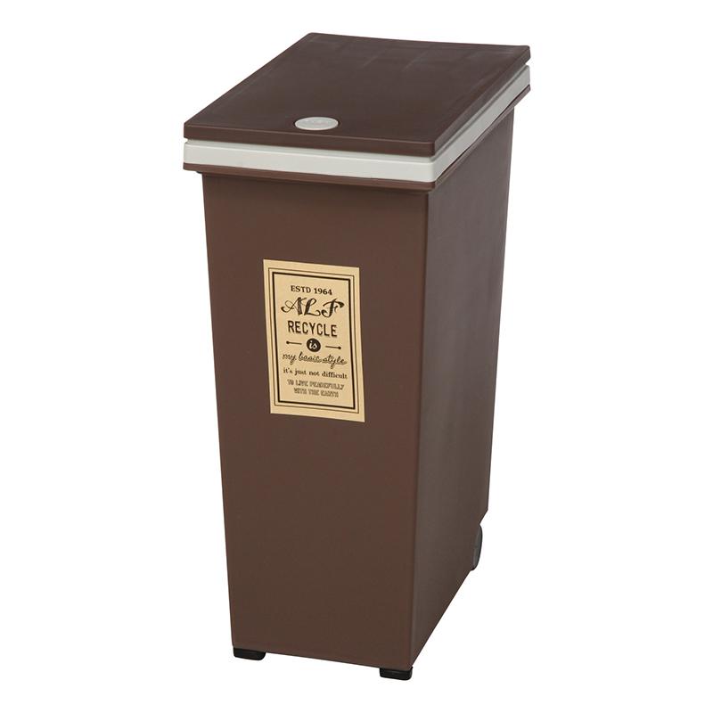 送料無料 4個セット プッシュ式ダストボックス 30L ブラウン キャスター付き ふた付き 蓋付き ゴミ箱 くずかご くず入れ キッチン リビング 寝室 コンパクト シンプル 西海岸 男前インテリア おしゃれ かわいい