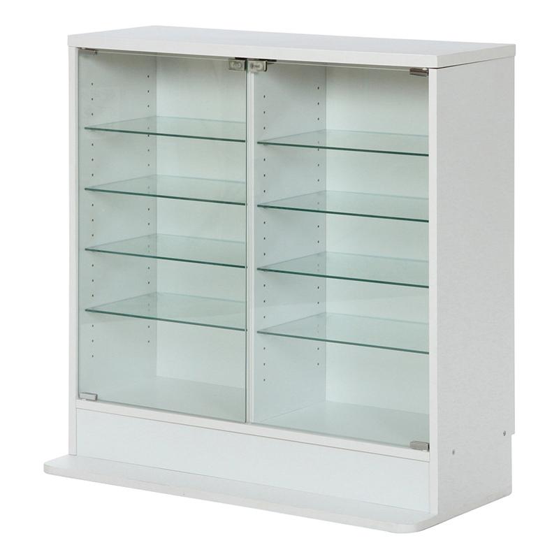 送料無料 ガラスコレクションケース ロータイプ 浅型 ガラスケース コレクションラック ディスプレイラック ミニカー フィギュア おしゃれ ホワイト