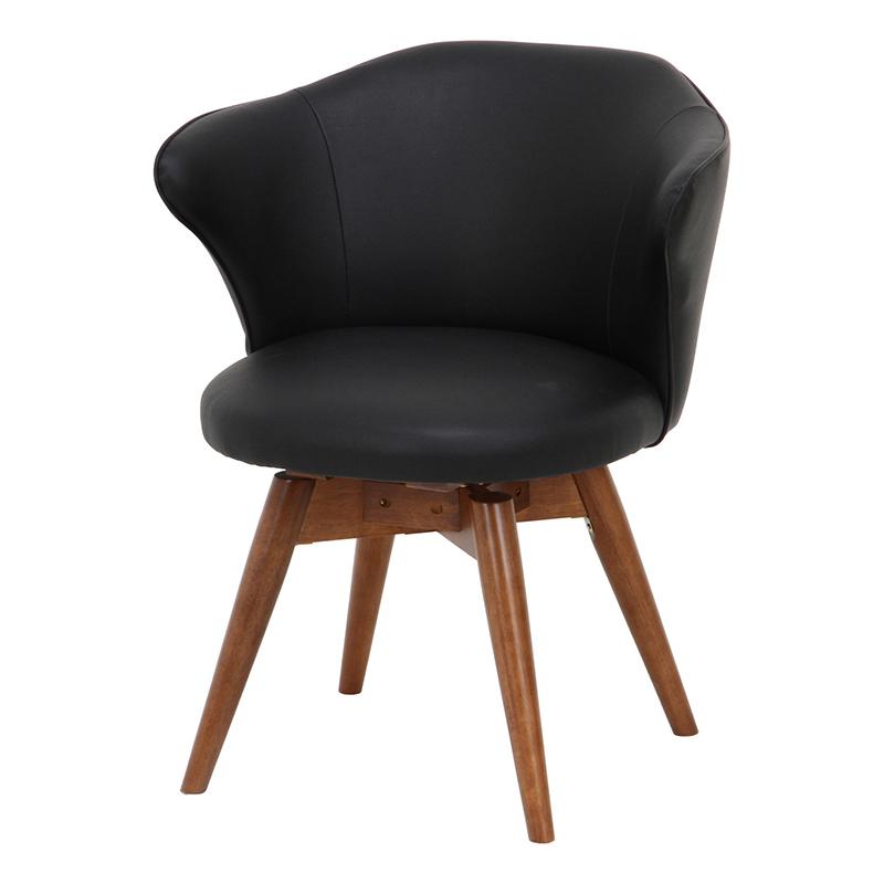 送料無料 ダイニングチェアー 単品 木製 肘付き 肘掛け 合皮 1人掛け ダイニングチェア 回転チェア 回転式 イス 椅子 いす リーフ チェアー チェア 食卓椅子 1人がけ インテリア 北欧 シンプル モダン 高級感 おしゃれ デザイン ブラック