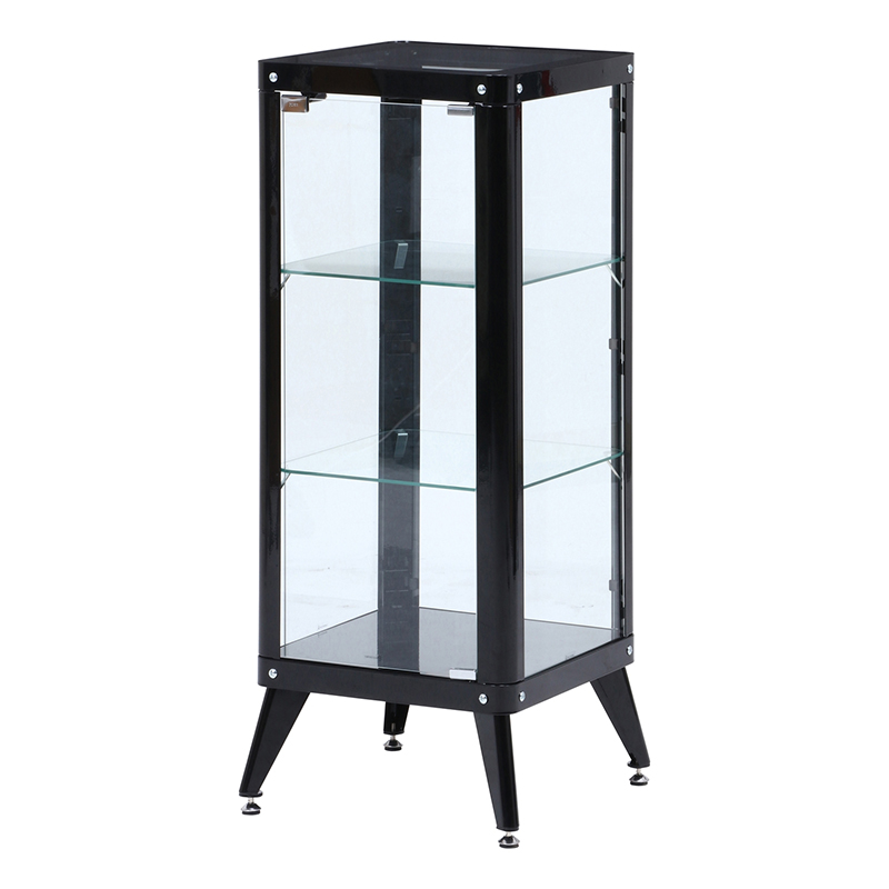 送料無料 ガラスコレクションケース 3段 ガラスケース コレクションラック ディスプレイラック ミニカー フィギュア おしゃれ ブラック
