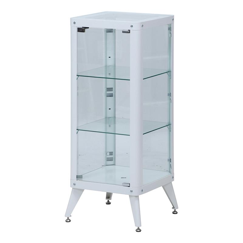 送料無料 ガラスコレクションケース 3段 ガラスケース コレクションラック ディスプレイラック ミニカー フィギュア おしゃれ ホワイト