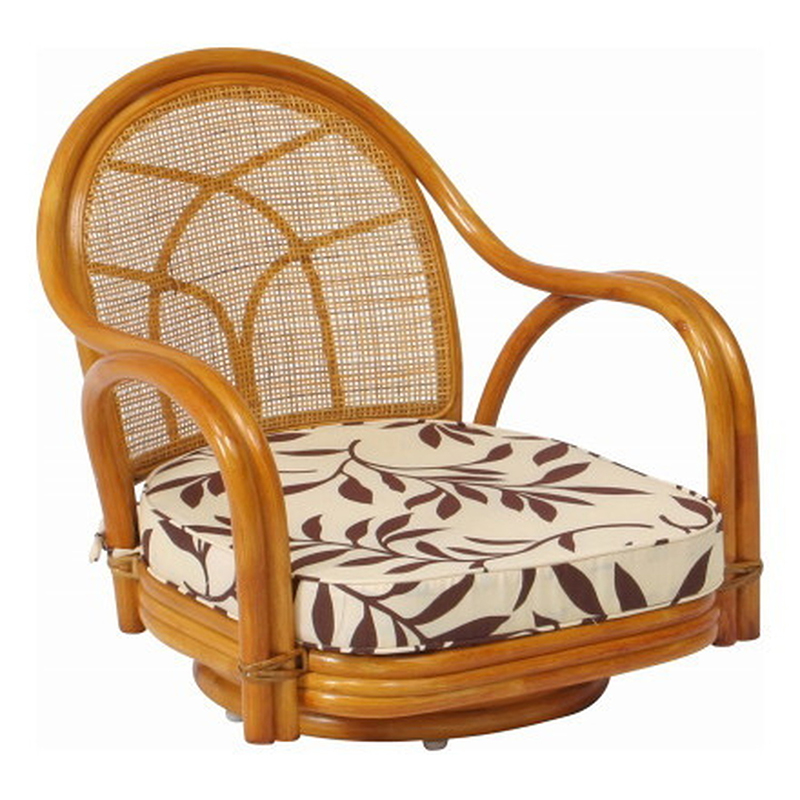 送料無料 2脚セット 回転チェアー(ロー) 回転式 イス 椅子 いす チェアー チェア 腰掛け リビング 籐 ラタン 座椅子 肘付き 回転椅子 回転いす 回転イス シンプル モダン おしゃれ 敬老の日 ギフト 贈り物 ハニー