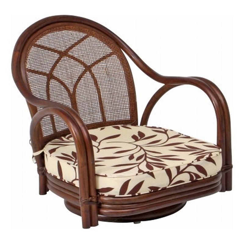 送料無料 2脚セット 回転チェアー(ロー) 回転式 イス 椅子 いす チェアー チェア 腰掛け リビング 籐 ラタン 座椅子 肘付き 回転椅子 回転いす 回転イス シンプル モダン おしゃれ 敬老の日 ギフト 贈り物 ブラウン