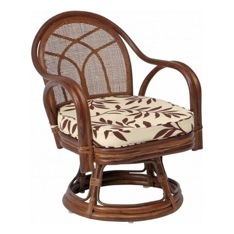 送料無料 2脚セット 回転チェアー(ミドル) 回転式 イス 椅子 いす チェアー チェア 腰掛け リビング 籐 ラタン 座椅子 肘付き 回転椅子 回転いす 回転イス シンプル モダン おしゃれ 敬老の日 ギフト 贈り物 ブラウン