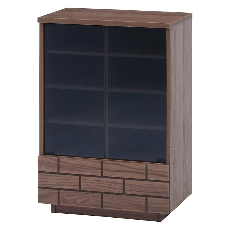 送料無料 ガラスキャビネット 木製 食器棚 幅60cm リビング収納 飾り棚 カップボード キッチン収納 収納棚 棚 キッチン ラック 電話台 FAX台 おしゃれ 北欧 レトロ モダン かわいい カントリー アンティーク ミディアムブラウン