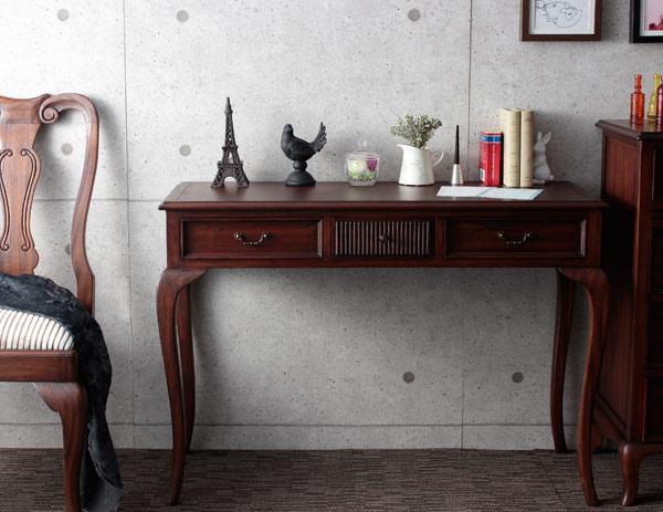送料無料コンソールテーブル木製アンティーク引き出し収納テーブルシャルダンつくえ机デスク書斎デスク書斎机天然木猫脚エレガント高級感おしゃれ