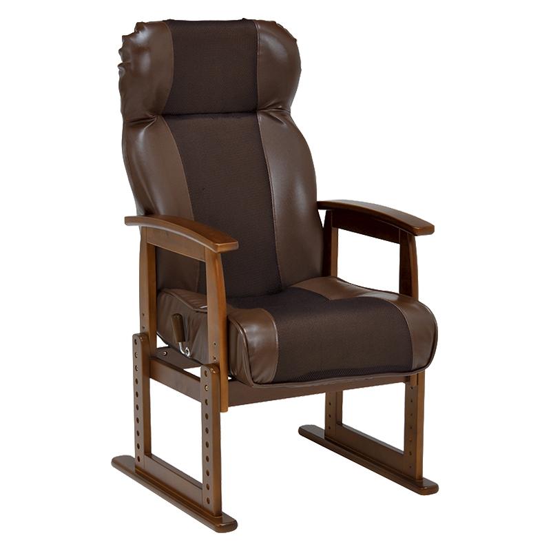 送料無料 リクライニング高座椅子 大人向け 肘掛け ローチェア 高さ調整 メッシュ おしゃれ 和室 座いす イス 椅子 フロアチェア フロアソファ チェア 1人掛け 一人用 一人掛けソファー チェアー ブラウン LZ-4728BR