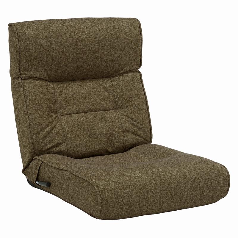 送料無料 座椅子 リクライニング コンパクト 幅60cm 座いす イス 椅子 フロアチェア フロアソファ チェア 1人掛け 一人用 一人掛けソファー ファブリック ブラウン 茶 おしゃれ 一人暮らし かわいい LZ-4128BR