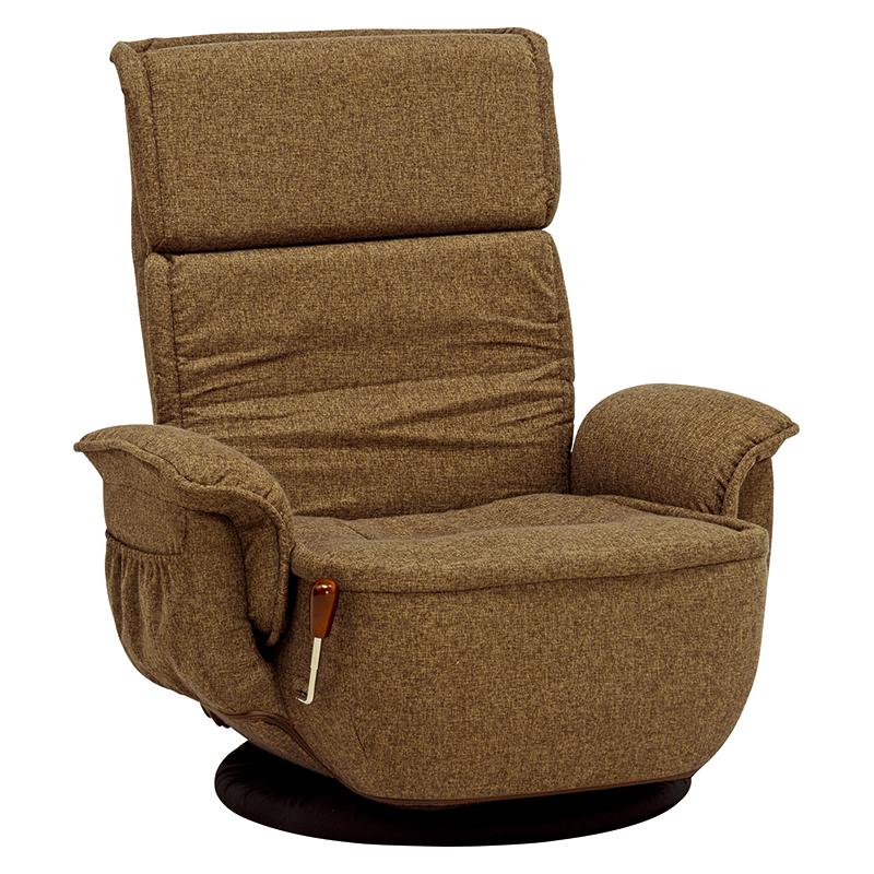 送料無料 座椅子 肘付き 回転座椅子 高座椅子 ポケットコイル リクライニング 回転チェアー 座いす イス 椅子 フロアチェア フロアソファ チェア 1人掛け 一人用 一人掛けソファー ファブリック ブラウン 茶 おしゃれ LZ-4184BR