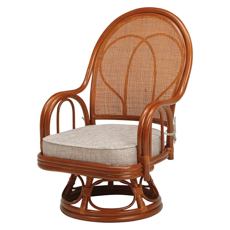 送料無料 2脚組 回転座椅子 回転式 回転 座椅子 回転椅子 高座椅子 籐 タラン ミドルタイプ ハイバック 肘付き 肘掛け 木製 一人掛け パーソナルチェア 籐チェアー 1人 おしゃれ 椅子 チェア イス チェアー 母の日 ブラウン RZ-044BR