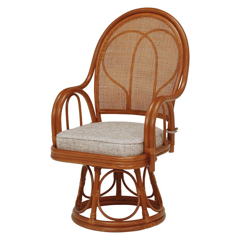 送料無料 2脚組 回転座椅子 回転式 回転 座椅子 回転椅子 高座椅子 籐 タラン ハイタイプ ハイバック 肘付き 肘掛け 木製 一人掛け パーソナルチェア 籐チェアー 1人 おしゃれ 椅子 チェア イス チェアー 母の日 ブラウン RZ-045BR