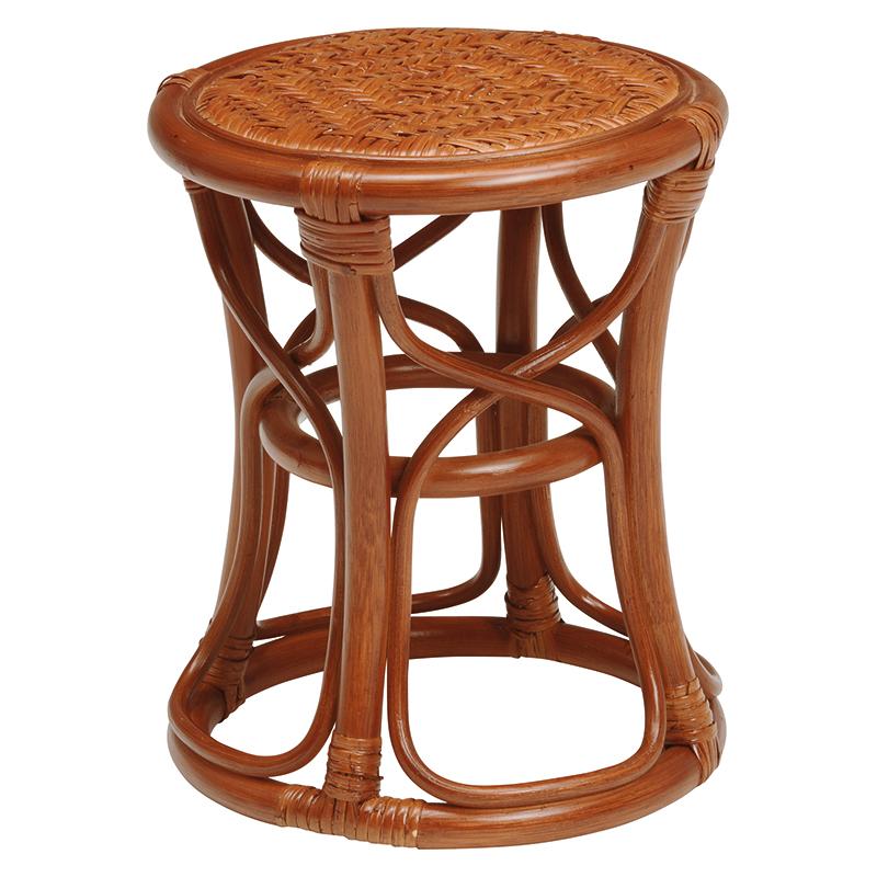 送料無料 6個セット 籐スツール 丸型 丸椅子 コンパクト イス 椅子 いす チェアー 木製 おしゃれ いす イス 腰掛け ブラウン 茶 手編み 補助椅子 ちょい掛け用 荷物置き オットマン 玄関椅子 腰掛け ラタン RH-576BR