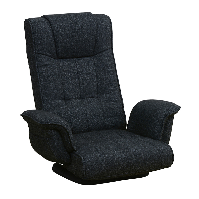 送料無料 回転座椅子 回転式 リクライニング 肘掛け 一人掛け 折りたたみ コンパクト ハイバック フロアソファー 腰痛 立ち上がり補助 座いす ザイス おしゃれ 和モダン シンプル ブラック LZ-4179BK