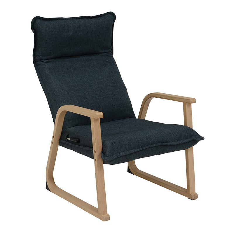 送料無料 座椅子 リクライニング 肘掛け 一人掛け 折りたたみ コンパクト フロアソファー 腰痛 立ち上がり補助 座いす ザイス おしゃれ 和モダン シンプル ネイビー LZ-4224NV