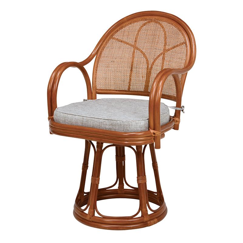 送料無料 回転座椅子 ハイタイプ 籐チェアー 回転式 肘掛け 一人掛け 高座椅子 座いす ザイス おしゃれ 和モダン シンプル RZ-636BR