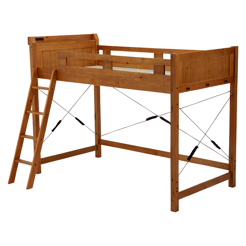 送料無料 ロフトベッド ミドル ベッドフレームのみ シングルベッド すのこ 子供部屋 大人でも子供でも 頑丈 ブラウン 棚付き 2口コンセント付き 木製 はしご 宮棚付 ロフトベット ミドルタイプ すのこベッド 北欧 ブラウン ホワイトウォッシュ MB-5071-LBR-S