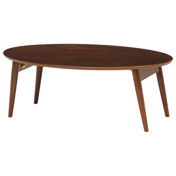 送料無料 テーブル 折りたたみ ローテーブル 幅90cm 楕円形 だ円型 おしゃれ 折れ脚 センターテーブル 木製 カフェテーブル リビングテーブル コンパクト 机 つくえ 折り畳み 木目 一人暮らし かわいい モダン 北欧 ブラウン MT-6925BR