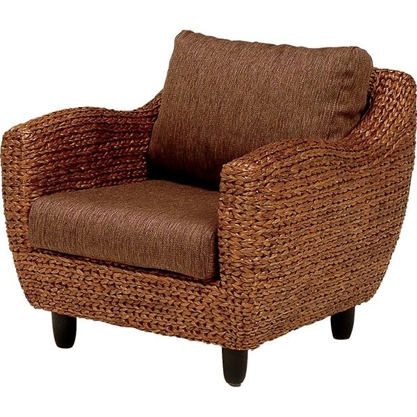 送料無料 アジアンテイストアームチェアー 1人掛け 1人がけ リゾート ソファ アームチェア 椅子 いす イス バリ おしゃれ ホテル ウォーターヒヤシンス 茶 ブラウン RL-1010BR-1C