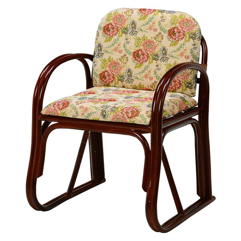送料無料 座椅子 座面高43cm チェア 楽々座椅子 高座椅子 イス チェア いす 肘付き 肘掛け 木製 一人掛け 籐チェアー 1人 フロアチェア フロアチェアー おしゃれ 母の日 高級感 ジャガード織り RZ-739H
