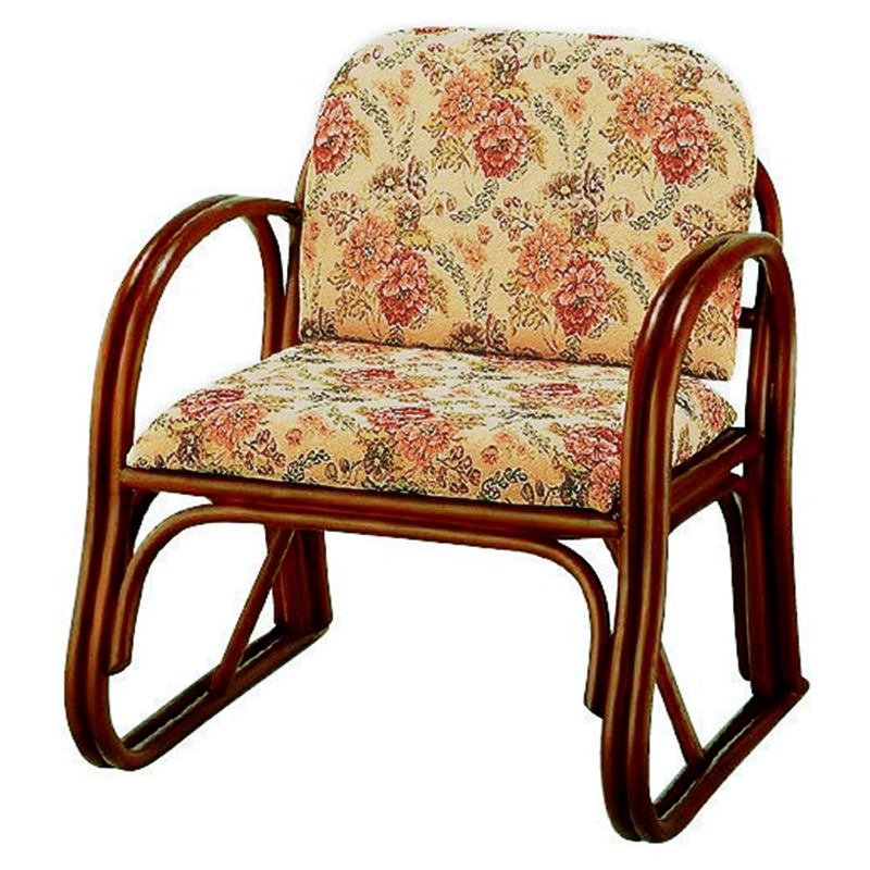 送料無料 座椅子 座面高33cm チェア 楽々座椅子 高座椅子 イス チェア いす 肘付き 肘掛け 木製 一人掛け 籐チェアー 1人 フロアチェア フロアチェアー おしゃれ 母の日 高級感 ジャガード織り RZ-739M