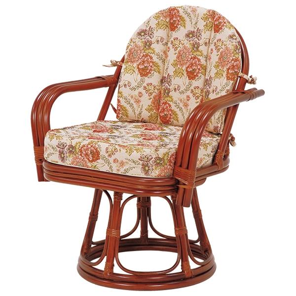 送料無料 座椅子 回転座椅子 回転椅子 高座椅子 肘付き 肘掛け 木製 一人掛け 籐チェアー 1人 和室 フロアチェア フロアチェアー おしゃれ 母の日 高級感 茶 ブラウン RZ-934