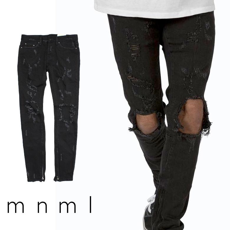 mnml ミニマル M47 STRETCH DENIM BLACK クラッシュ ダメージジーンズ ダメージ デニムパンツ デニム スキニー スキニージーンズ ストレッチ ジーンズ メンズ ジップ付 サイドジッパー サイド ジッパー 裾ジップ ZIP インポート ブランド ストリート ファッション