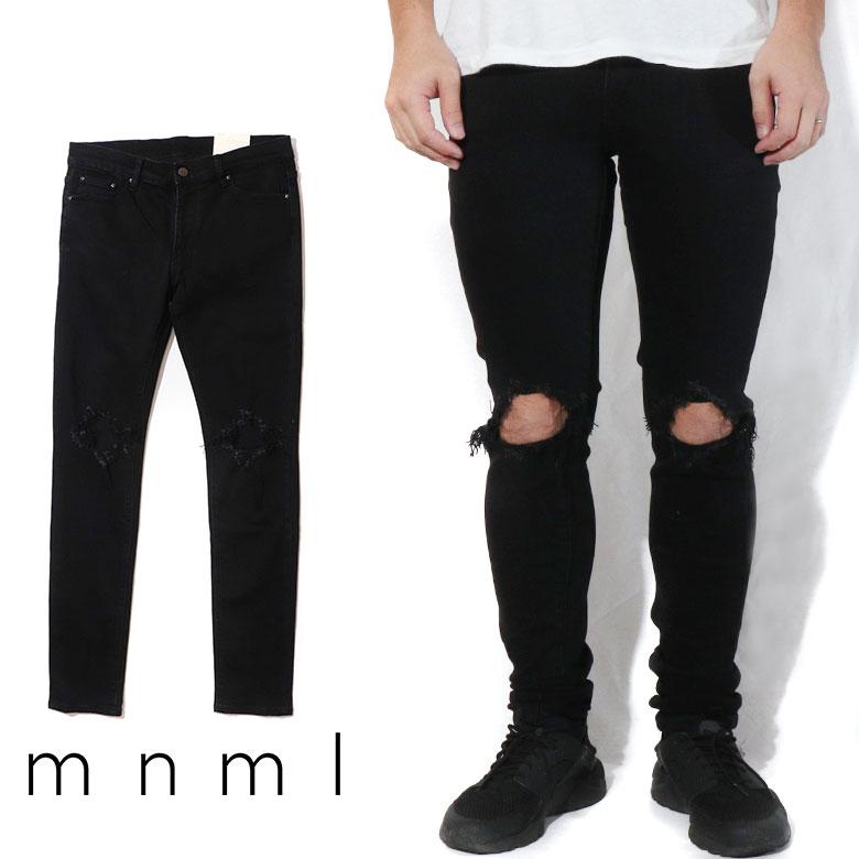 mnml ミニマル X1 STRETCH DENIM BLACK クラッシュ ダメージジーンズ ダメージ デニムパンツ デニム スキニー スキニージーンズ ストレッチ ジーンズ メンズ タイト デニム インポート ブランド ストリート ファッション