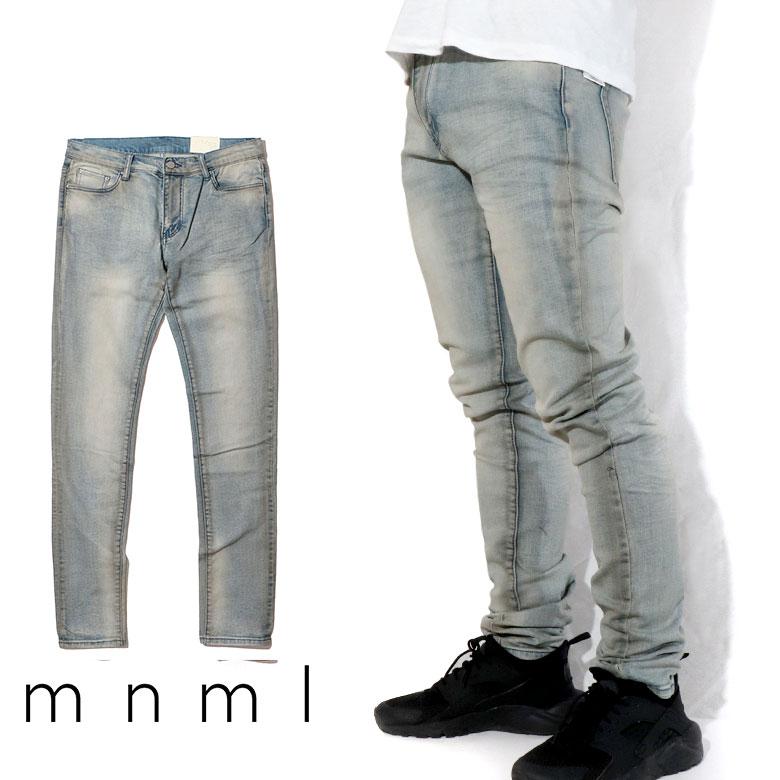 mnml ミニマル X20 STRETCH DENIM クラッシュ ダメージジーンズ ダメージ デニムパンツ デニム スキニー スキニージーンズ ストレッチ ジーンズ メンズ タイト デニム インポート ブランド ストリート ファッション