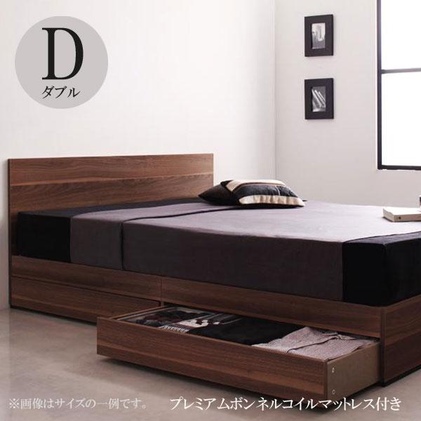 ダブルベッド マットレス付き 収納ベッド おすすめ 人気 安い 激安 格安 引き出し付き ベッドマットレスセット ダブルサイズベッド プレザート プレミアムボンネルコイルマットレス 040111342