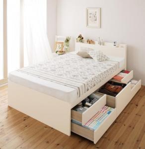セミシングルベッド 日本製 棚 コンセント付き大容量すのこチェストベッド サルバト 薄型プレミアムポケットコイルマットレス付き セミシングル 500030590
