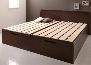 【送料無料】 激安 国産大型サイズ頑丈跳ね上げ収納ベッド おすすめ 人気 ナヴァル ベッドフレームのみ 縦開き キング(SS+S) 500040946
