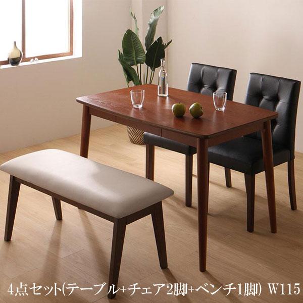 送料無料 ダイニングテーブルセット 4点 PVCレザー ダイニング ファシオ 4点セット(テーブル+チェア2脚+ベンチ1脚) W115 500023736