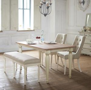 ダイニングテーブルセット 4点セット フレンチシック シャビーデザインダイニング チナール 4点セット(テーブル+チェア2脚+ベンチ1脚) W150