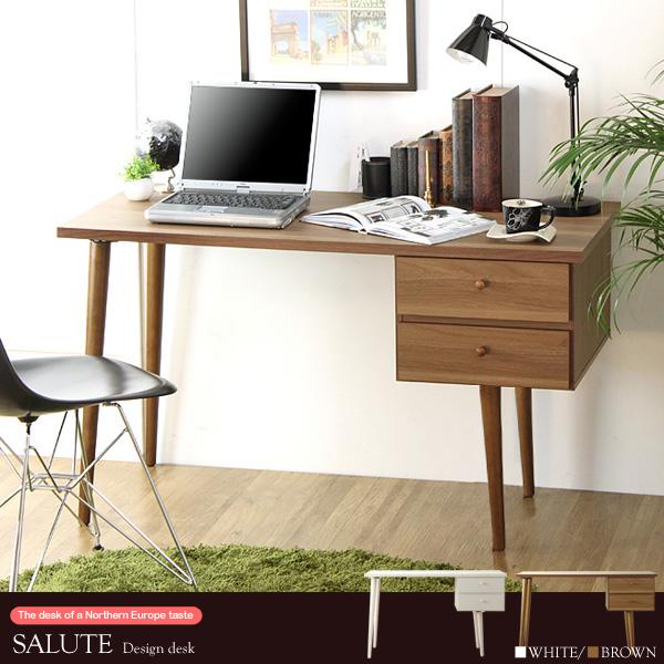 パソコンデスク PCデスク 収納付き コンパクト 北欧デザイン デスク オフィスデスク SALUTE サルーテ IW-52