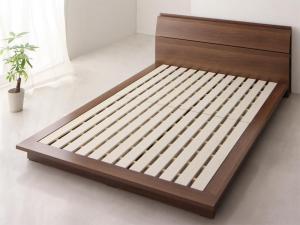 ベッドフレーム ダブルベッド 棚 コンセント付き モダンデザイン ローベッド エクアシオン ベッドフレームのみ ダブル