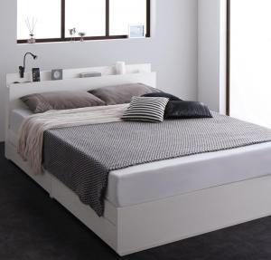 シングルベッド マットレス付き スリム棚 コンセント付き 収納ベッド リアルト スタンダードボンネルコイルマットレス付き シングル