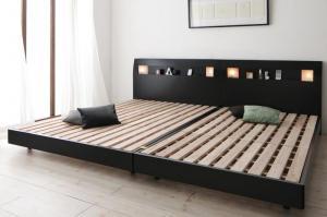 ベッドフレーム 棚 コンセント ライト付き デザイン すのこベッド アルテリア ベッドフレームのみ ワイドK240(S+D)
