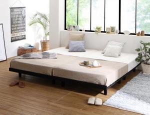 ベッド マットレス付き デザインボードベッド ビブリー スタンダードボンネルコイルマットレス付き 木脚タイプ フルレイアウト クイーン(SS×2) フレーム幅160