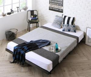 ベッド マットレス付き デザインボードベッド ビブリー プレミアムボンネルコイルマットレス付き 木脚タイプ フルレイアウト ダブル フレーム幅140