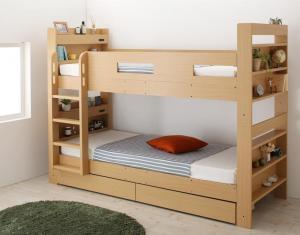 クイーンサイズベッドにもなるスリム2段ベッド ウェンウィル 薄型軽量ポケットコイルマットレス付き スタンダード クイーン
