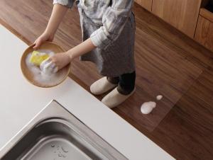 キッチンマット おしゃれ 透明シリコンマット スケルトシリーズ キッチンマット 80×270cm