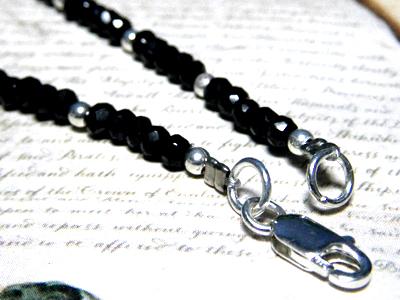 黑色尖晶石 & 银综合链 peanecklas 名人最喜欢黑色尖晶石项链银 925 银配件磁铁天然石石男装女装配件