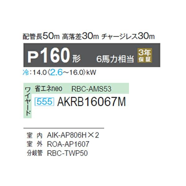 【AKRB16067M】東芝 エアコン 冷房専用 同時ツイン 壁掛形 ワイヤード P160形 6馬力相当 【TOSHIBA】/代引き不可品
