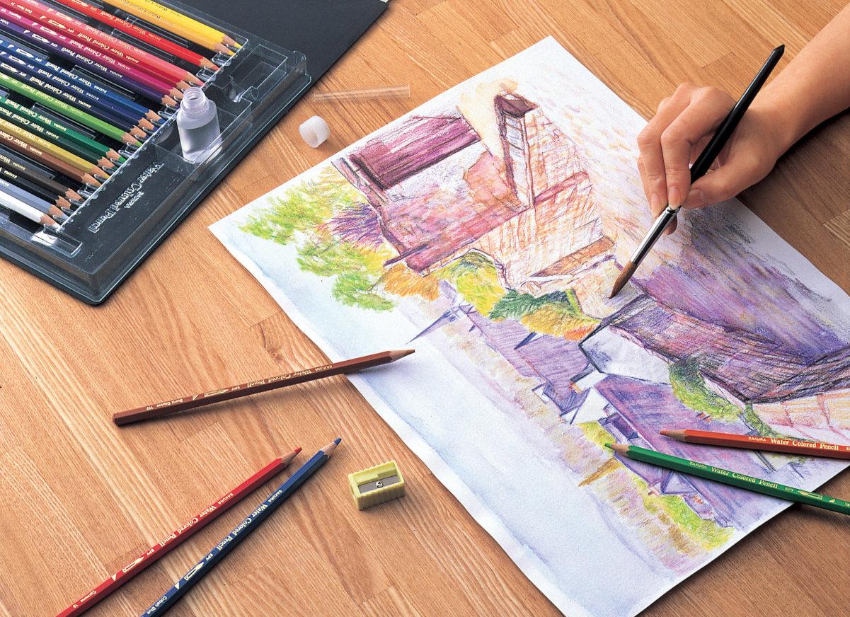 楽天市場サクラクレパス Epy12水彩色鉛筆 12色セット水彩絵の具 筆