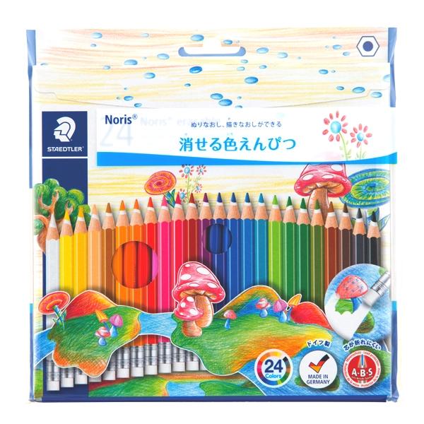 ステッドラー 14450NC24 ノリスクラブ消せる色鉛筆24色セット 色鉛筆 24色セット オンラインショッピング 消せる 新作多数 六角軸 折れにくい