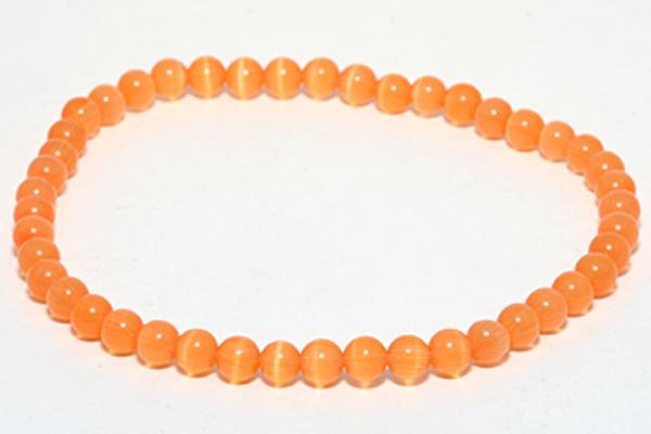 人工キャッツアイ アクセサリー ブレスレット 4mm 天然石 マート 安全 メンズ レディース パワーストーン オレンジ