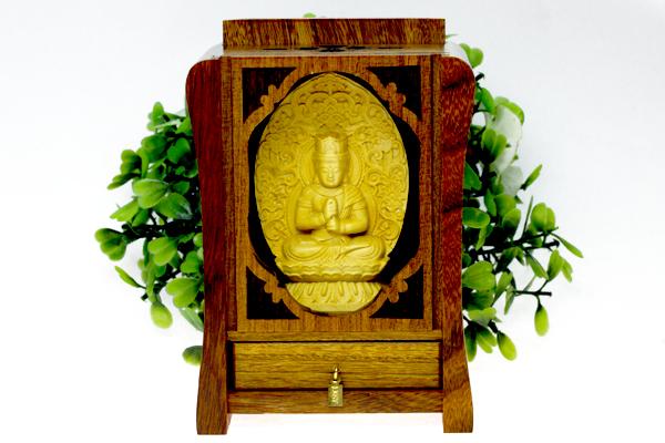 【彫刻置物】木製 八大観音「大日如来」 (木箱入り) ※DM便・ネコポス不可※ 【パワーストーン 天然石 アクセサリー】